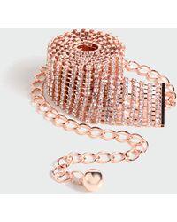 New Look Rose Gold Diamanté Chain Belt - Multicolour