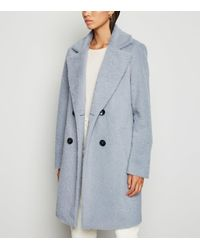 New Look Pale Blue Fluffy Collared Longline Coat