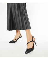 New Look Black Stud Pointed Court Shoes