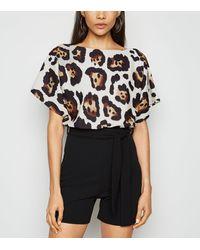 Missfiga Brown Leopard Print Batwing Playsuit
