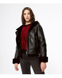 New Look Black Faux Fur Lined Leather-look Hooded Aviator Jacket