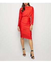 AX Paris Red Ruched Slash Neck Dress