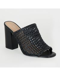 New Look Black Leather-look Woven Peep Toe Mules