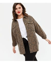 New Look - Curves Brown Leopard Print Shacket - Lyst