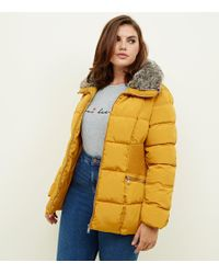 New Look Curves Mustard Cinched Faux-fur Collar Puffer Coat - Yellow