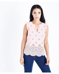 New Look   Pale Pink Broderie Jersey Back Top   Lyst