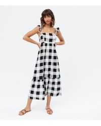 New Look - Black Check Square Neck Frill Tie Back Tiered Midi Dress - Lyst