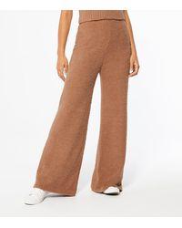 New Look Mink Teddy Wide Leg Trousers - Brown