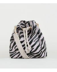 New Look Grey Faux Zebra Mini Duffle Bag