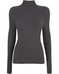 New Look Dark Grey Ribbed Knit Roll Neck Jumper