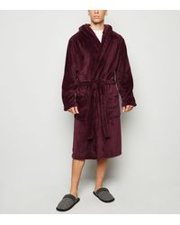 New Look Burgundy Hooded Dressing Gown - Red