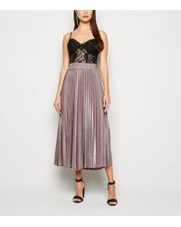 New Look Bronze Glitter Pleated Midi Skirt - Multicolour