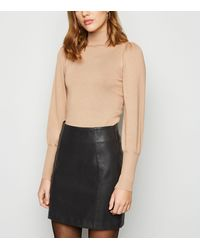 New Look Black Coated Leather-look Mini Skirt