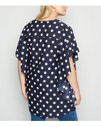 Mela Curves Blue Spot Frill Sleeve Blouse New Look