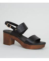 New Look Black Leather-look Wood Platform Block Heels