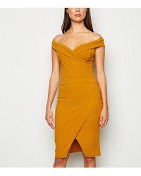 Missfiga Mustard Bardot Wrap Bodycon Dress - Yellow