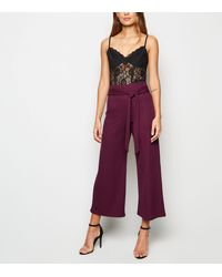 New Look Burgundy Bandage Ribbed Tie Culottes - Purple