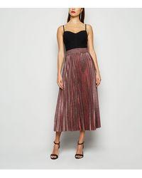 New Look Burgundy Glitter Pleated Midi Skirt - Multicolour