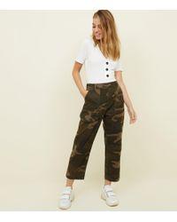 New Look Petite Khaki Camo Cropped Utilitytrousers - Natural
