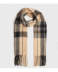New Look Camel Check Tassel Trim Scarf - Natural