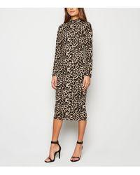 AX Paris Brown Leopard Print Bodycon Midi Dress