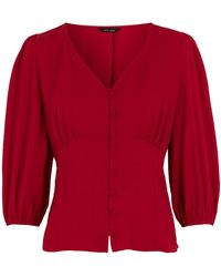 New Look Red Puff Sleeve Button Front Tea Blouse