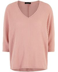 New Look Mid Pink Ribbed Fine Knit Batwing Top