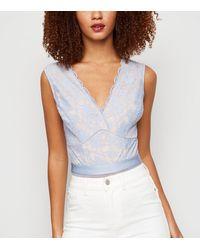 New Look Pale Blue Contrast Lace Plunge Bodysuit