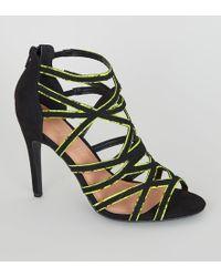 New Look Yellow Neon Faux Snake Trim Stilettos