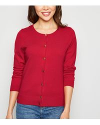 New Look Red Popper Front Cardigan