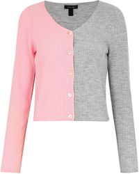 New Look Light Grey And Pink Spliced Colour Block Cardigan
