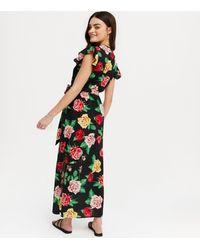 Mela Black Floral Split Hem Wrap Maxi Dress New Look