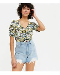 New Look Black Ditsy Floral Ruched Front Top