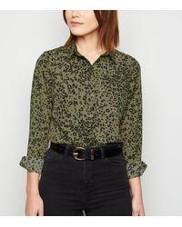 New Look Green Leopard Print Shirt