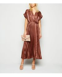 New Look Rust Stripe Satin Pleated Midi Dress - Brown