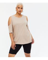 New Look Curves Mink Cold Shoulder T-shirt - Natural