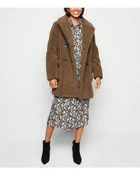 New Look Petite Rust Teddy Coat - Brown