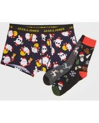 Jack & Jones Men's Multicoloured Christmas Boxers And Socks Set New Look