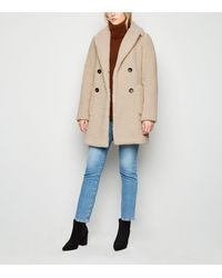 New Look Tall Cream Longline Teddy Coat - Natural