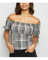 New Look White Check Frill Trim Milkmaid Bardot Top