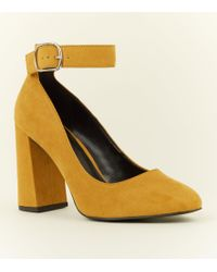 aa465e68fea New Look Mustard Suedette Ankle Strap Pointed Cone Heels in Yellow ...
