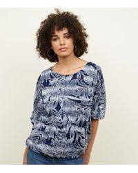 Apricot Navy Leaf Print Batwing Top - Blue