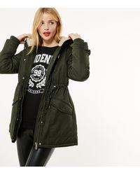 New Look Petite Khaki Faux Fur Hooded Long Parka Jacket - Multicolour
