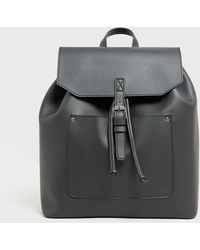 New Look Black Leather-look Buckle Backpack