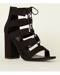 1f19e7b206d Black Suedette Lace Up Ghillie Block Heels