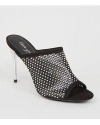New Look Black Suedette Diamanté Mesh Mules