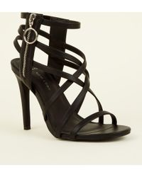 b34436c03f8e New Look - Wide Fit Black Strappy Ring Zip Stiletto Sandals - Lyst
