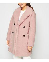 New Look Petite Pale Pink Teddy Coat