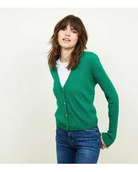 New Look - Green Ribbed Button Up Cardigan - Lyst