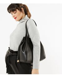 New Look Black Tie Side Slouch Tote